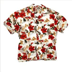 Hilo Hattie Hawaiian Mens Button Shirt Floral red